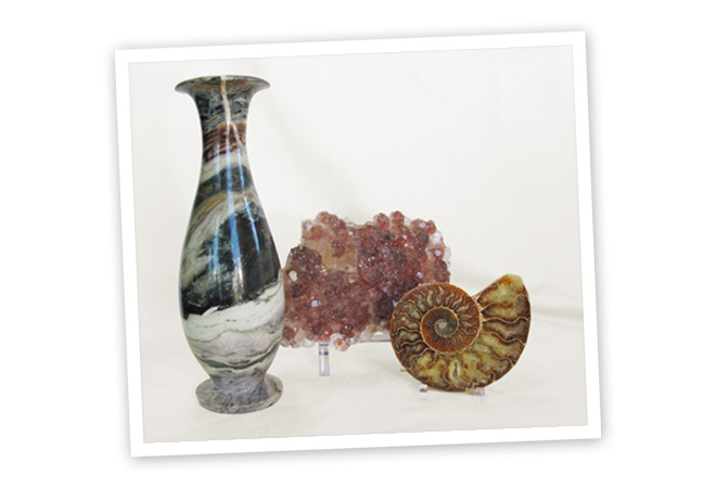 Home Decor | Stone Vase, Strawberry Quartz, Fossilized Ammonite